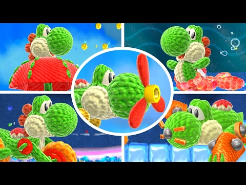 Poochy & Yoshi's Woolly World - All Transformations Gameplay