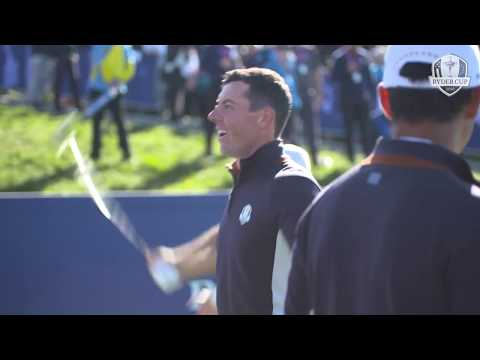 Rory McIlroy starts an Icelandic clap ahead of the 2018 Ryder Cup