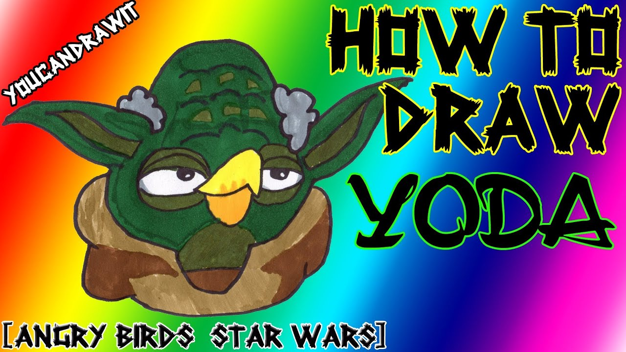 how to draw yoda from angry birds star wars 1 u00262 youcandrawit ツ