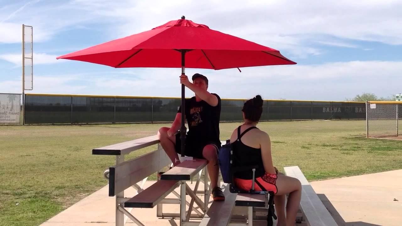 Bleacher Buddy Umbrella Holder For Bleachers 9 Umbrella Youtube