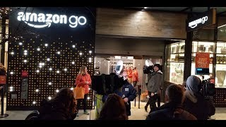 Amazon Go lines form in Seattle to try checkout free shopping