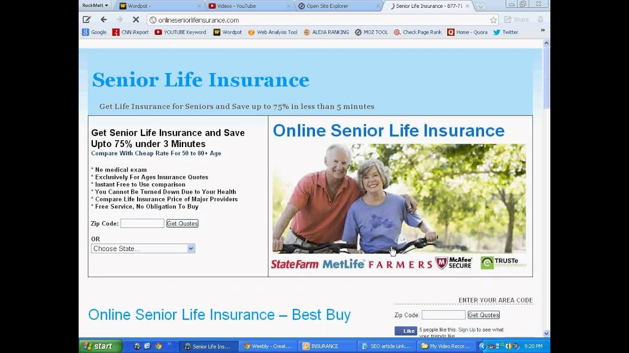 Senior Life Insurance Quotes Online Life Insurance For Seniors Over 85  Found It  Youtube