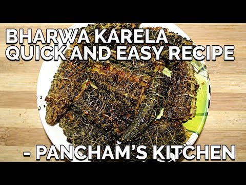 Bharwa Karela with Chilka/Stuffed Bitter gourd with skin - Quick and Easy - Pancham's Kitchen