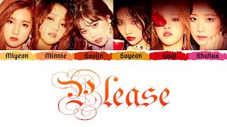(g)i-dle (여자아이들) - 'please' (주세요) (color coded lyrics eng/rom/han/가사) all rights administered by cube ent. credits in the video itself. dynal enjoy!...