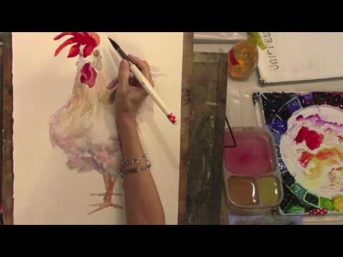 Painting a Sassy Rooster Comb in Watercolor with Rebecca Z Artist @RebeccaZartist.com