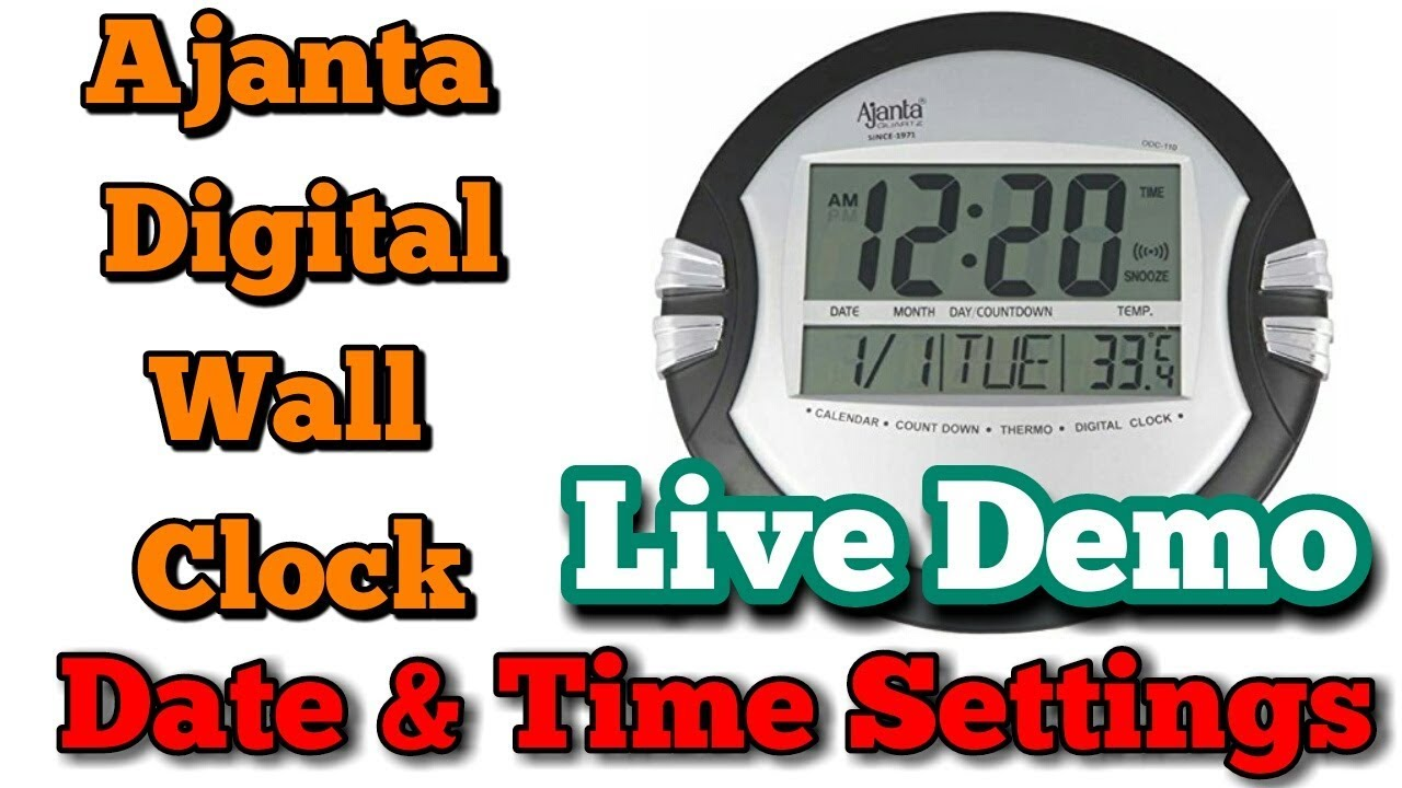 Ajanta Odc110 Digital Wall Clock Date And Time Setting Digital Wall Clock Me Time Set Kaise Kare Youtube