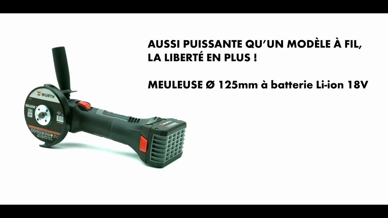 Meuleuse d 39 angle 125 mm batterie li ion 18v w rth youtube - Meuleuse a batterie ...