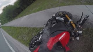 MOTORCYCLE CRASHES GOING 55MPH