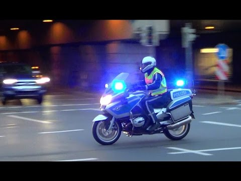 German police motorcycle responding code 2 | Dresden Polizei Krad [GER | 15.7.2016]
