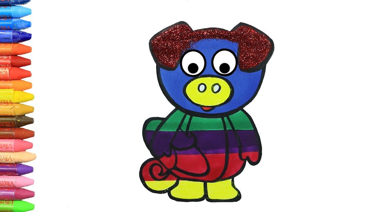 画画教学 | 儿童画画 | 如何画可豬 | 如何绘画和颜色孩子电视