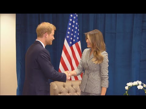 First Lady Melania Trump Meets Prince Harry at Game Supporting Wounded Warriors