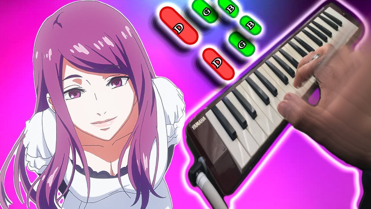 Tokyo Ghoul OP - Unravel 🎹 TUTORIAL melodica con notas(melodica♣chan)