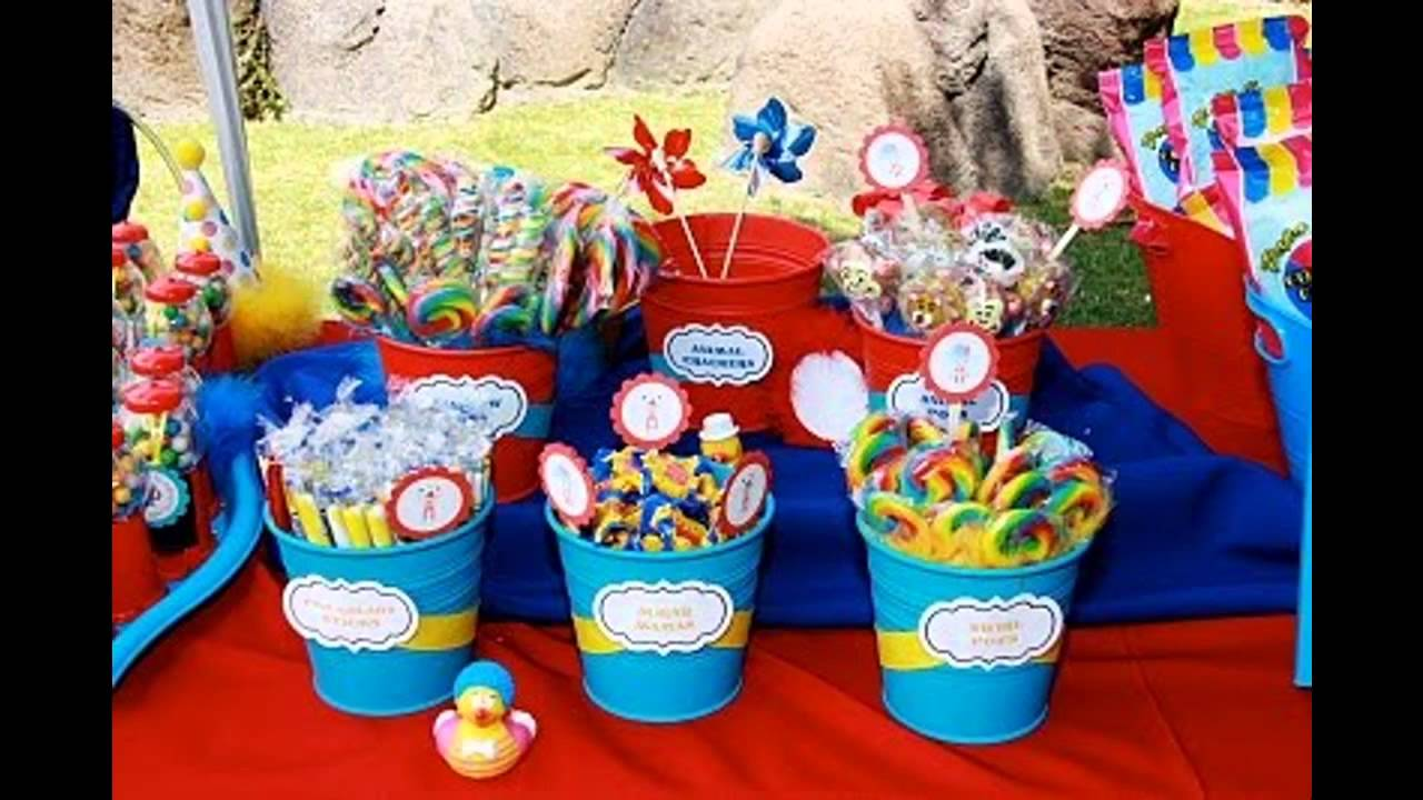 Fun circus birthday party decorations ideas youtube for R b party decorations
