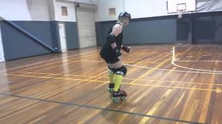 Freshmeat Roller Derby -Learn to Skate- Lesson 9 Skating Backwards