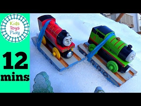 Thomas the Train Great Race in Snow | Playing With Trains in the Snow | Thomas & Friends Toys