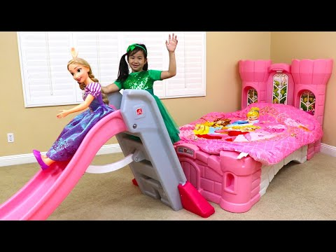 Jannie Pretend Play Princess Bedroom with Slide & Rapunzel Doll