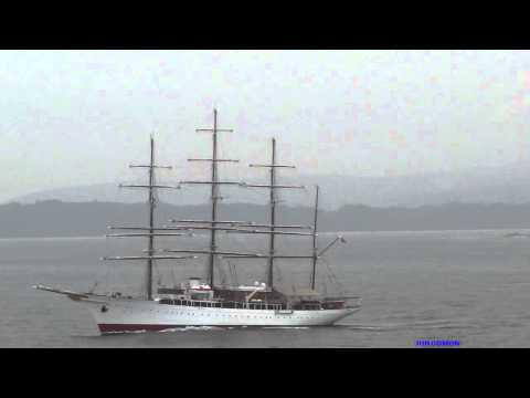 Sailing Cruise Ship SEA CLOUD leaving La Coruna
