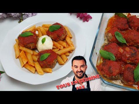 tous-en-cuisine-#23-:-les-boulettes-de-viandes-sauce-tomate-basilic-burrata-de-cyril-lignac-!