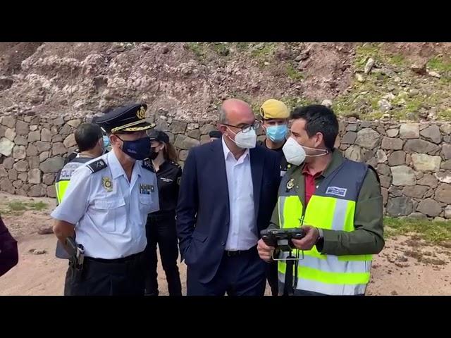 El delegado del Gobierno visita el puesto de Mando de la búsqueda de Juana Ramos