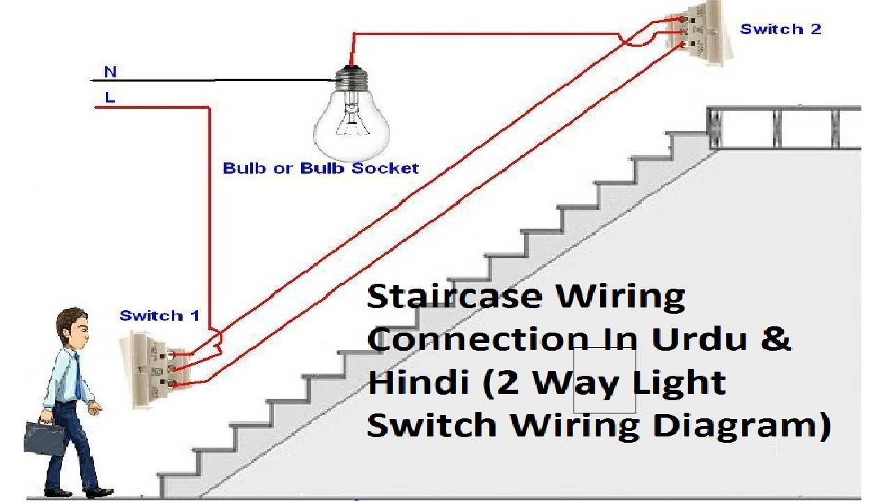 Wiring A 3 Way Switch Up Diagram 12 Volt 2 Light Staircase Connections In Urdu Hindi Youtube Easy
