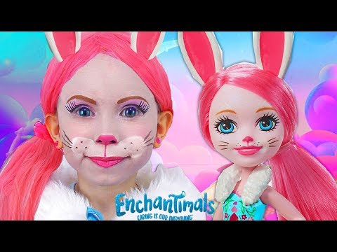 Kids Makeup Bree Bunny with Colours Paints. Alisa playing with doll Enchantimals & DRESS UP