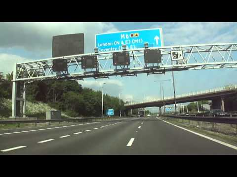 A car drive from Walsall (in West Midlands) to Rugby, Warwickshire, UK.