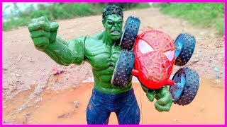The Hulk rescues Spider car from the lake toy for kids Nursery Rhymes songs with kids toys