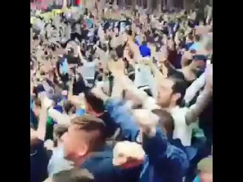 Man City fans after victory at Old Trafford