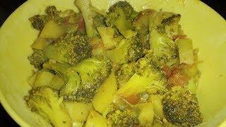 INDIAN STYLE CHATPATTI BROCCOLI RECIPE | Roasted Broccoli mix vegetable Recipe | Desi Food Stuffs |