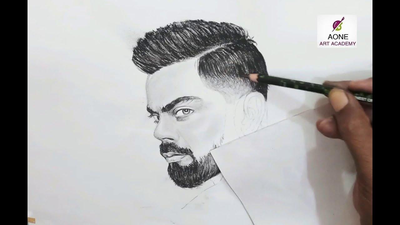 How to draw virat kohli pencil sketch of virat kohli