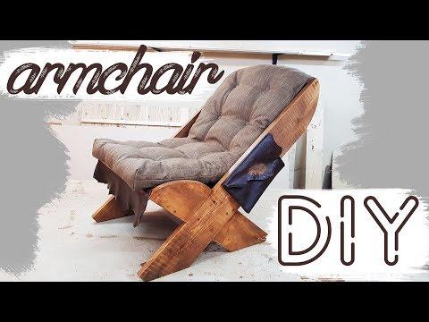 КРЕСЛО - ЛЕЖАК своими руками DIY мебель ПРОЦЕСС ИЗГОТОВЛЕНИЯ