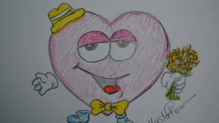 تعلم الرسم - الدرس الثالث كيفية رسم قلب الحب بشكل احترافي بالرصاص والالوان مع الخطوات للمبتدئين