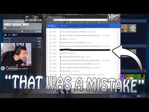 """Myth Shows His Internet History LIVE! """"Nothing To Hide"""" (Fortnite Highlights!)"""