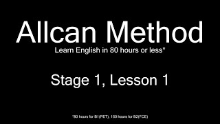 AllCan: Learn English in 80 hours or less - Stage 1, Lesson 1