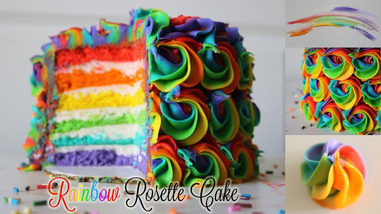 Rainbow Rosette Cake Youtube