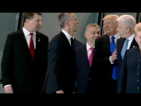 WATCH: PRESIDENT DONALD TRUMP PUSHES NATO LEADER AT SUMMIT