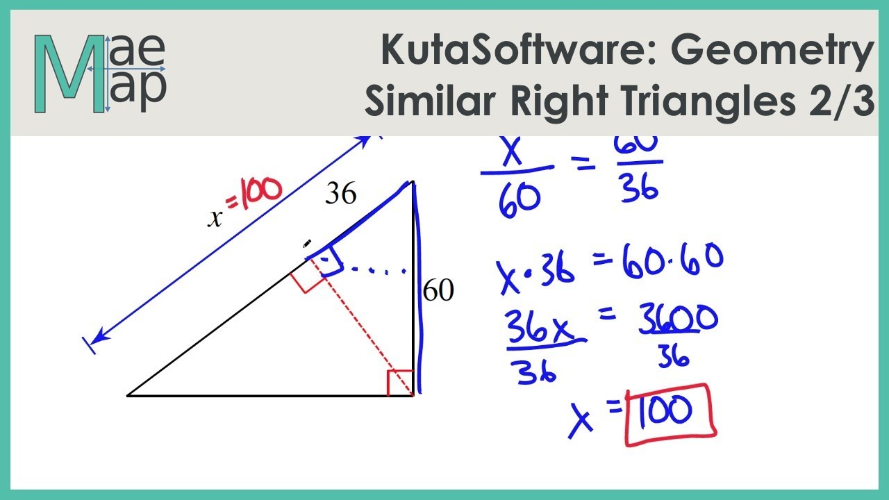 Kutasoftware Geometry Similar Right Triangles Part 2 Youtube