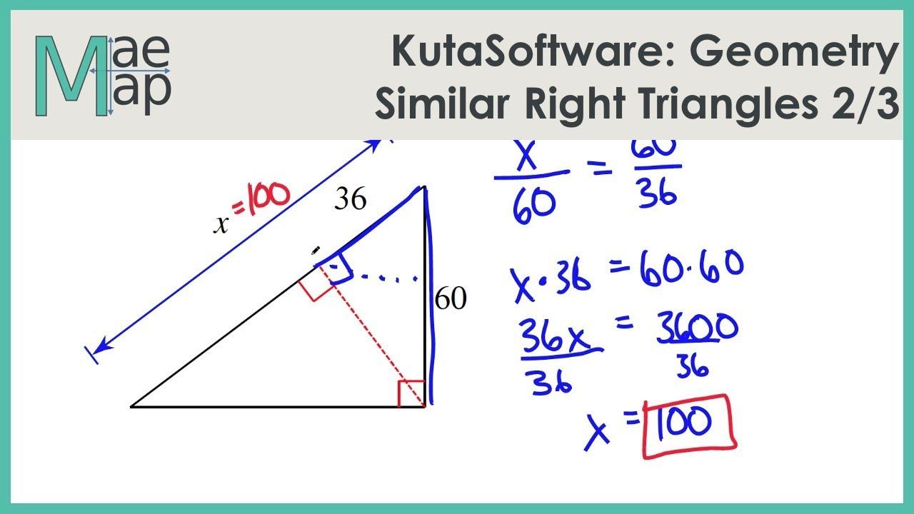 medium resolution of KutaSoftware: Geometry- Similar Right Triangles Part 1 - YouTube