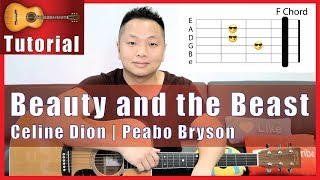 Beauty and the Beast Guitar Tutorial - Celine Dion, Peobo Bryson | NO CAPO