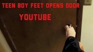 teen boy feet tramples bathroom door barefoot