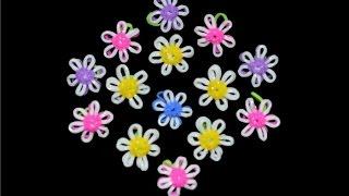 Цветы из резинок (второй вариант). На станке Monster Tail. Flowers of loom bands.