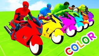 Learn Colors for Kids Motorcycles w Superheroes Fun Cartoon 3D Babies Animation