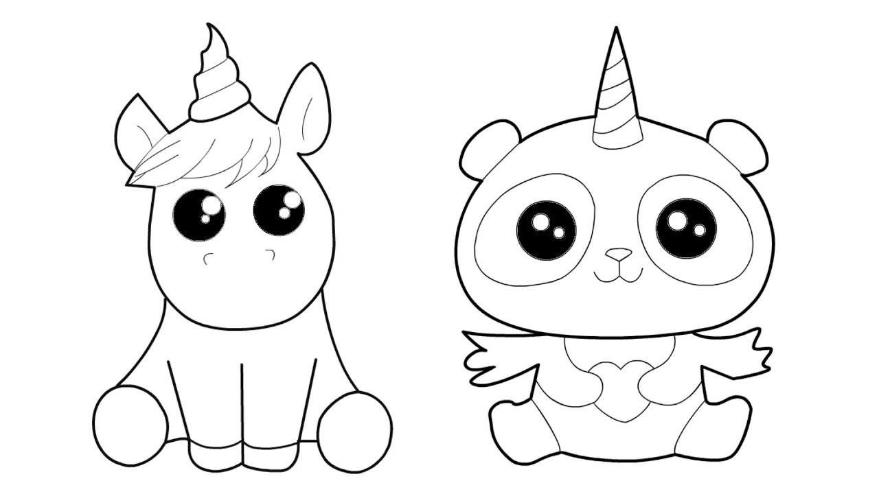 Unicorn and Panda Unicorn coloring and drawing for Kids ...