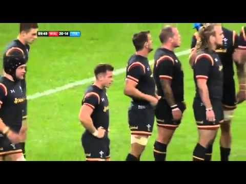 See how Wales full-back Leigh Halfpenny injured his knee against Italy -  5th Sept 15