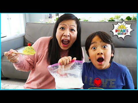 Ryan Leans how to Make Homemade Ice Cream In a bag science experiment!