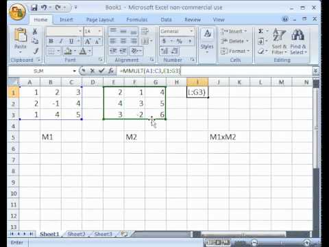 Multiply Matrices With Excel Function Mmult Youtube