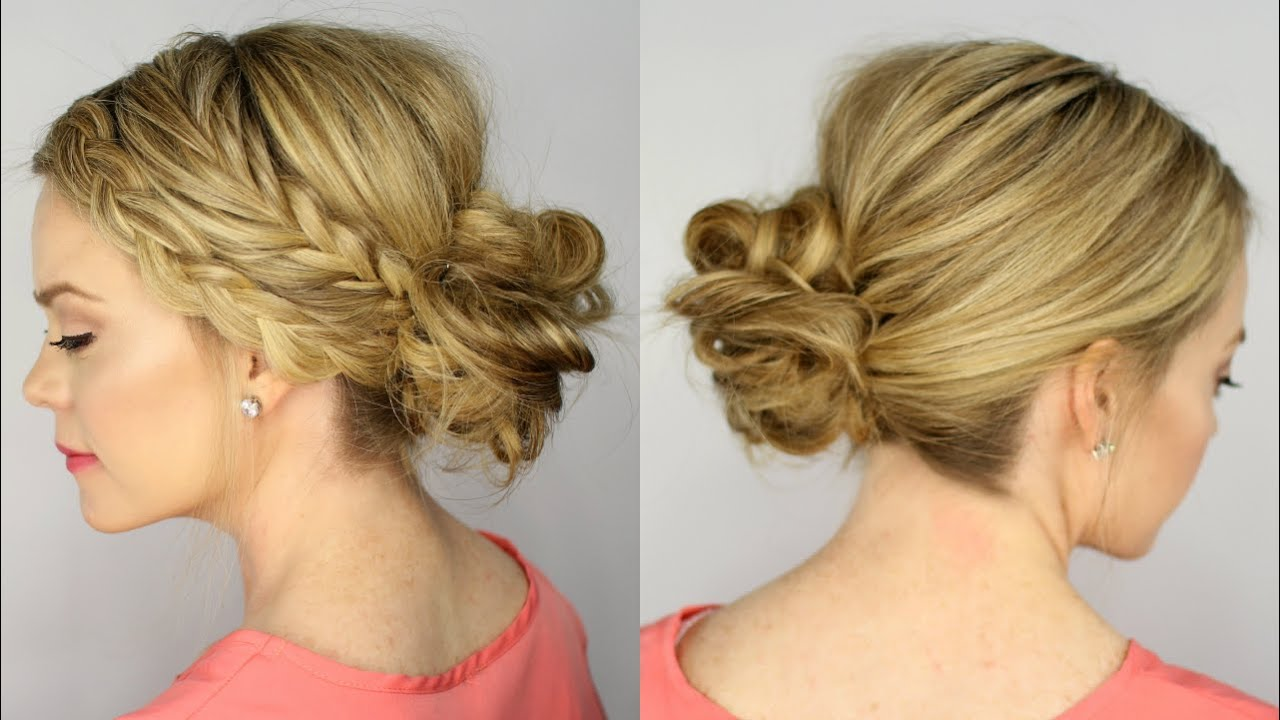 Fishtail And Dutch Braid Messy Bun Youtube