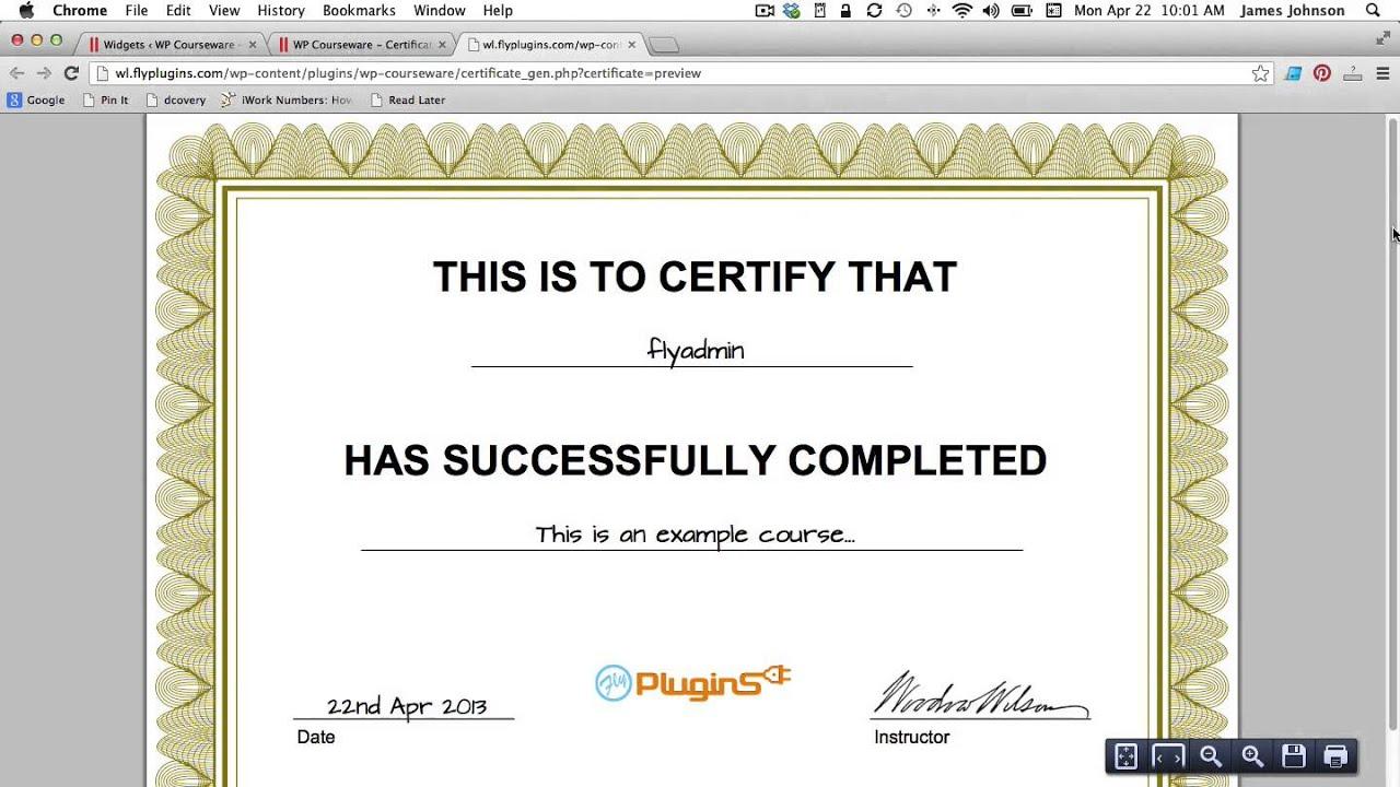 Doc400309 Training Course Certificate Template completion – Free Templates for Certificates of Completion