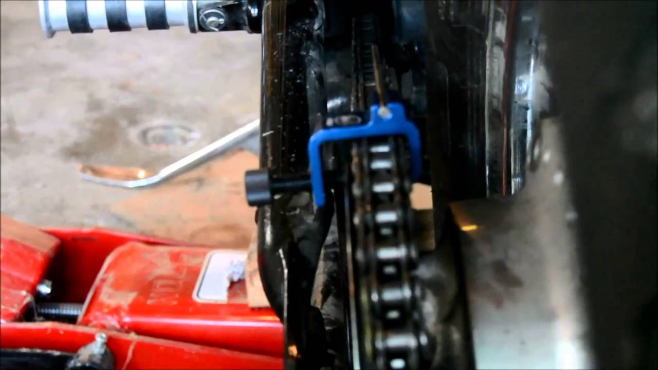 motorcycle chain Alignment using the Motion Pro Chain Alignment tool