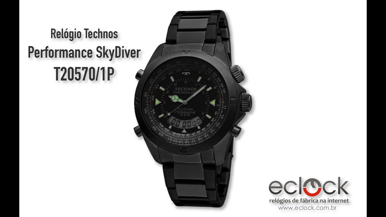 42a5a75d48b Relógio Technos Masculino Performance SkyDiver T20570 1P - Eclock ...